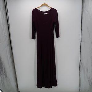 Calvin Klein 3/4 Sleeve Pleated Long Maxi Dress